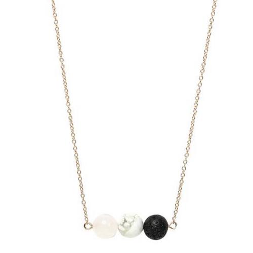 Essential oil necklace: Rose quartz & white howlite
