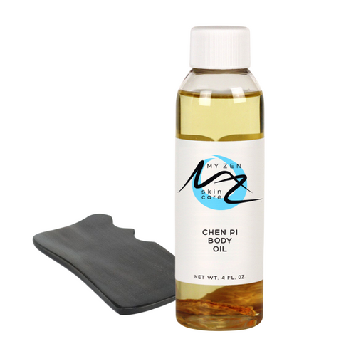 This kit is for you to do Belly Gua Sha (massage) at home.  People use Gua Sha for these BENEFITS:  + to get rid of fat around the belly and thighs, as that is the place where cellulite tends to build up the most.  + to boost the blood flow around the abdominal area to improve lymphatic drainage  + which may then help reduce your appetite  + and improve your digestion.     Put on the Chen Pi oil twice daily and rub it in with the gua sha tool. Do it vigorously to help stimulate lymph drainage. This product is best used in conjunction with a healthy nutritional plan and regular exercise. Dr. Martha offers a weight loss plan if you are interested in having additional support.  *Just as with cupping therapy, bruising may occur.   We love our community so donate a portion of our income to a local food bank and the Cat Care Society.   *Our products are bunny safe.