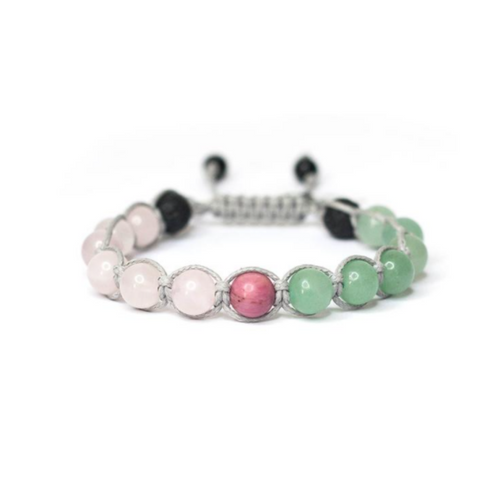 Enjoy wearing your essential oil blends on this aromatherapy bracelet.  Inhalation is one of the most common methods of using essential oil blends. Inhalation of essential oil blends is better than topical application of essential oil blends for some people that have sensitive skin.  Just put a couple drops of your favorite essential oil blend onto the earrings or one of our bracelets or necklaces and you'll be greeted by whiffs of calming oils all day long.   THIS IS A PERFECT GIFT FOR THOSE HAVING FERTILITY CHALLENGES.  Rose quartz: powerful stone of love and fertility.  Aventurine: about joy and playful sexuality plus calms nausea and emotions.  Pink rhodonite: used to stimulate fertility and heal emotional wounds.