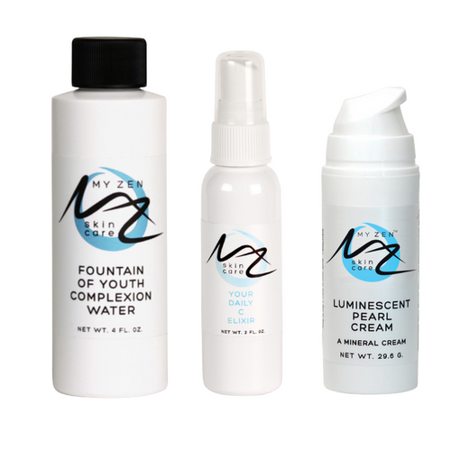 This kit contains the 3 products that, when used together with the sheet face masks provided, will give your skin the most moisturizing and wrinkles reducing treatments it's had in a long time ... or maybe ever!   You start by spraying the Your Daily C Elixir on your clean face.  Hydrate the paper mask with the Fountain of Youth Complexion Water.  While that's taking a minute, pat on a layer of the Luminescent Pearl Cream. Don't rub it in like usual; pat it on a little thickly.   Cover with the mask. Relax for 20 to 25 minutes.   During this time, the moisturizing ingredients in the Your Daily C Elixir and Luminescent Pearl Cream can't go anywhere except into your skin because of the sheet/paper mask barrier. It's fabulous!!
