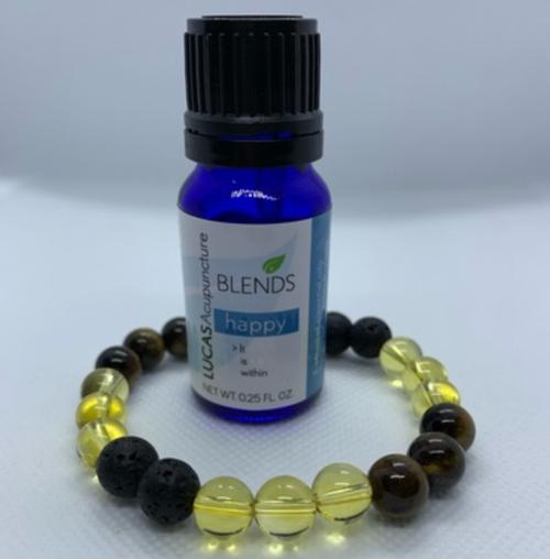Essential oil jewelry (bracelet) with Happy blend kit