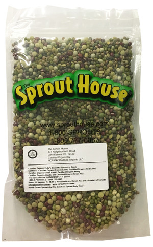 Holly's Bean Mix Certified Organic Non-GMO Sprouting Seeds Certified Organic Mung Bean, Adzuki, Green Pea, Red Lentil, Green Lentil, French Lentil