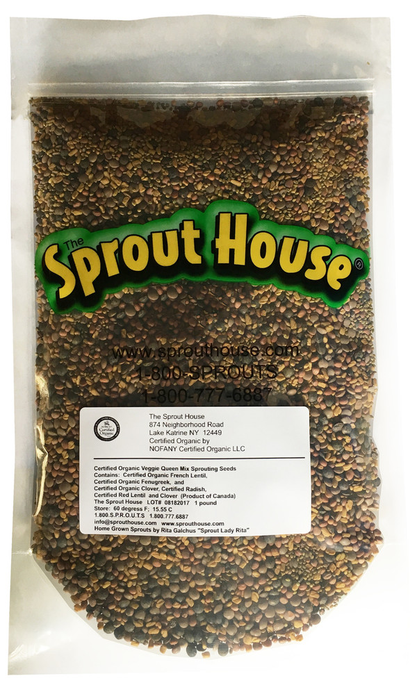 Veggie Queen Certified Organic Non-GMO Non-GMO Sprouting Seeds Mix  Certified Organic Clover, Red Lentil, Fenugreek, French Lentil, Radish
