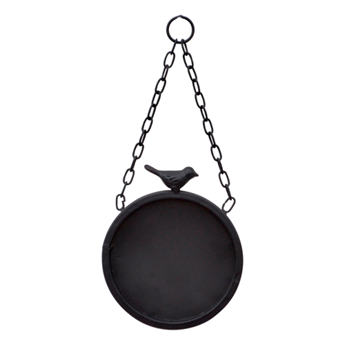 MET055  Black Board Round Sml Hanging 15x13cm