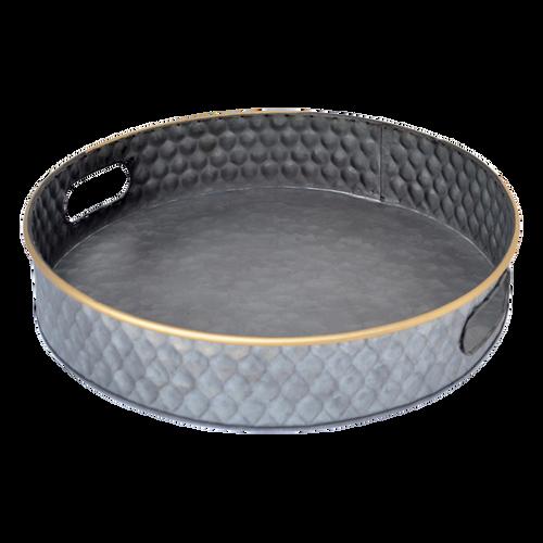 T058L  Tray Metal Round Large 41 x 8cm