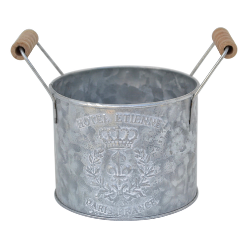 T059S  Bucket Metal Round Small 12x10cm excl handle