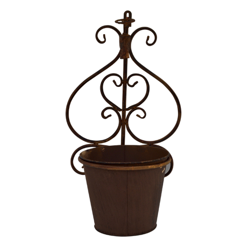 MET102B  Plant Holder Wall Brown 42x24cm