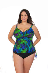 Women's tankini for large bust, tankini for large women, tankini with tummy control, tankini for bra cup sizes D cup DD cup DDD cup E cup F cup G cup, Tankini with underwire support