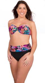 bikini bottoms, high waisted bikini bottoms, bikini bottoms with band, plus size bikini bottoms, high waisted plus size bikini bottoms