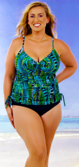 Women's Slimming Drawstring Underwire Tankini top #157S Bra Sizes B-DD