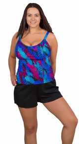athletic style tankini swim top, athletic fitting bathing suit, womens plus size tankini top, womens swimwear tankini top