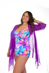 Kimono Beach cover-up, Dress cover-up, cover-up with sleeves, sheer fabric, cover-up, cute cover-up, women's cover-up, women's beach cover-up