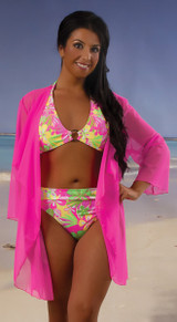 Women's Kimono Beach Cover Up  with Sleeves #7062 Sizes XS-XL