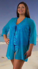 Women's Sheer Beach Cover-up Jacket #7068 Sizes XXS-XXL