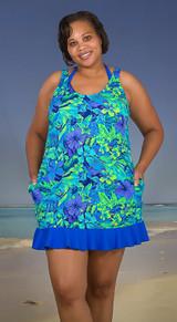 Women's matching custom made in usa beach cover-up, plus size beach cover-up, long beach cover up, custom made cover-up,  women's beach dress with pockets , plus size beach dress, Sizes XS-XXL