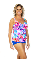 Women's plus size tankini for large bust, tankini for large women, tankini with tummy control, ruffle tankini for women, tankini for bra cup sizes D cup DD cup DDD cup E cup F cup G cup, Tankini with underwire suppor
