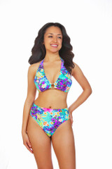 bikini bottoms with yoga band, swim bottoms with band, bikini bottoms with tummy control, high rise bikini bottoms