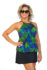 High neck tankini, tankini for chest coverage, loose fitting high neck tankini, plus size tankini with higher neck line, loose fitting tankini
