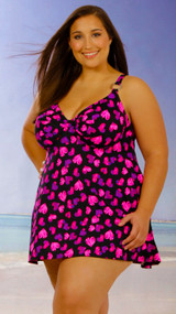 One Piece Swim Dress with Underwire  Bra support  C-G Cups #1602 Sizes 14-30