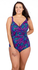 Women's  V-Neck One Piece with Underwire Bra cup sizes D-F Cups #1501 Sizes 6-26