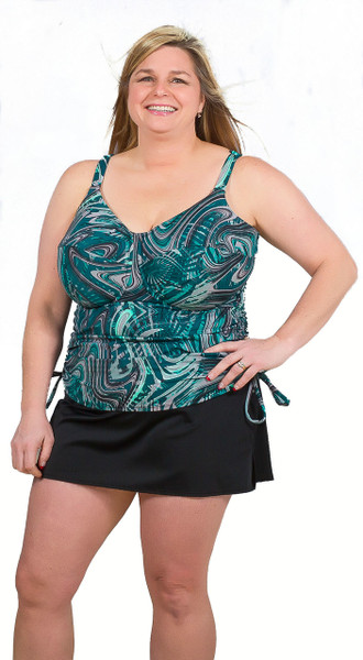Women's plus size tankini for large bust, tankini for large women, tankini with tummy control, tankini for bra cup sizes D cup DD cup DDD cup E cup F cup G cup, Tankini with underwire support