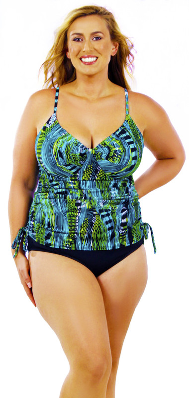 4b2df31509 Women's Drawstring string tankini with pleated cups