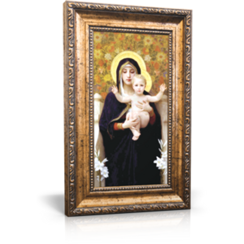 "Madonna of the Lilies - Framed Canvas 6"" x 11"" (Including frame: 9.5"" x 14.5"")"