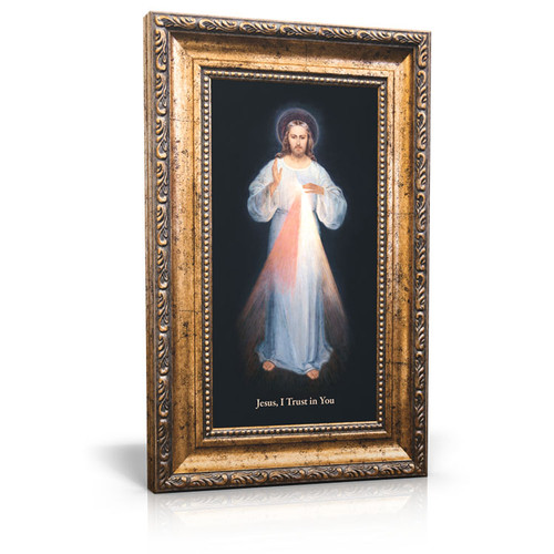 Divine Mercy (Vilnius) - Gold Framed Canvas