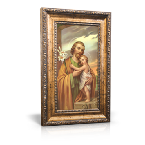 "Traditional Image of St. Joseph - Framed Canvas 6"" x 11"" (Including frame: 9.5"" x 14.5"")"