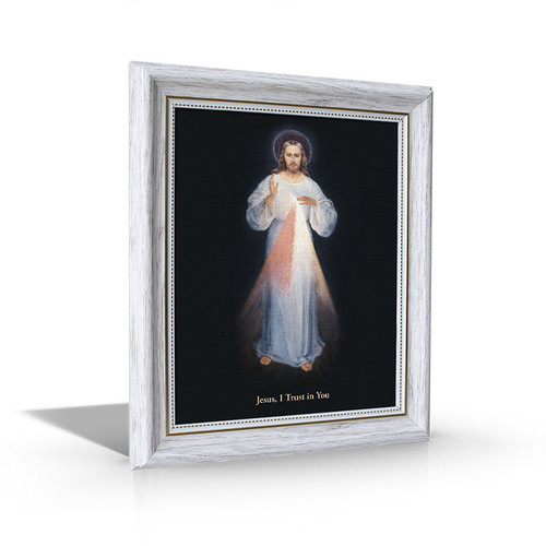 Divine Mercy - White Framed Canvas