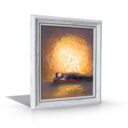 "Advent Painting - An Angel Visits Joseph - 8"" x 10"" (10"" x 12"" Including White Frame)"