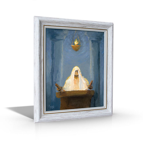 Christ Reads from Isaiah - White Framed Canvas