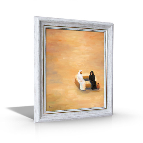 The Woman at the Well - White Framed Canvas