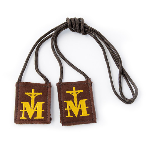 Premium Brown Scapular | Brown & Gold Original 17""