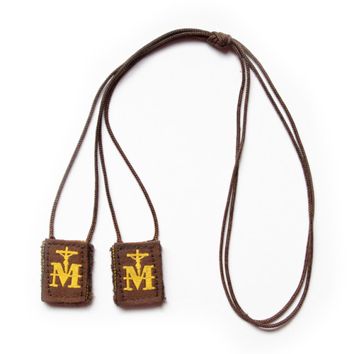 Premium Brown Scapular | Brown & Gold Mini
