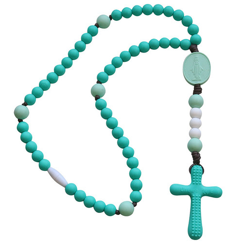 Chews Life | Turquoise and Mint Miraculous Medal Rosary