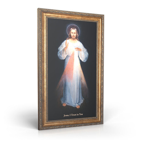 "Divine Mercy (Vilnius) - Framed Canvas 12"" X 22"""