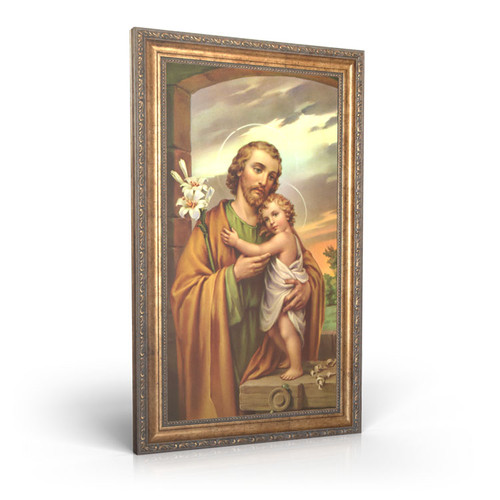 Traditional Image of St. Joseph - Framed Canvas