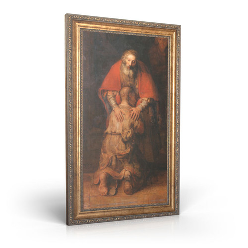 "Rembrandt: Return of the Prodigal Son - Framed Canvas 12"" x 22"""