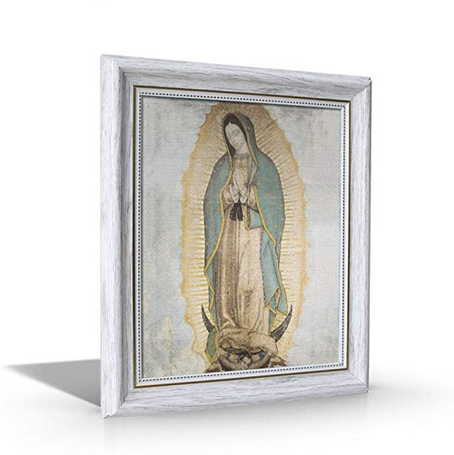 "Original Our Lady of Guadalupe - Framed Canvas - 10"" x 12"" Including White Frame"