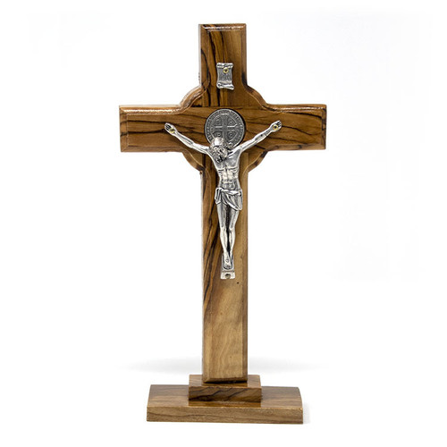 Cross On Stand With Metal Plated Crucifix And Metal Jerusalem Cross