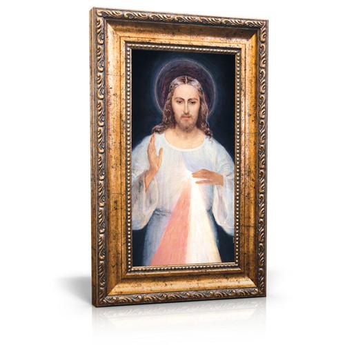 "Face of Jesus - Framed Canvas 6"" X 11"" - Divine Mercy Vilnius"