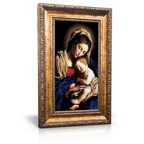 "Madonna and Child painting by Giovanni Battista Salvi da Sassoferrato (1640) - Framed Canvas 6"" X 11"""