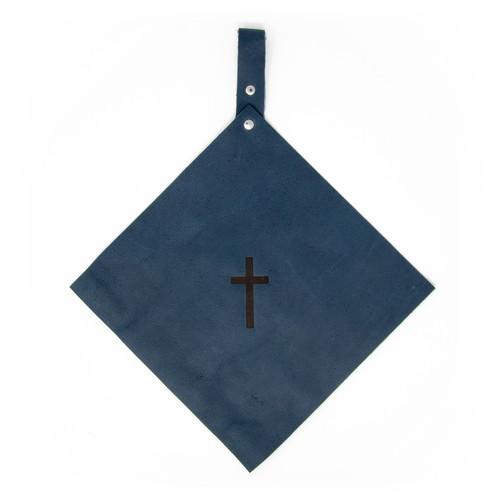 OreMoose || Pot Holder (Denim) - Handmade Leather Pot Holder with Cross Design