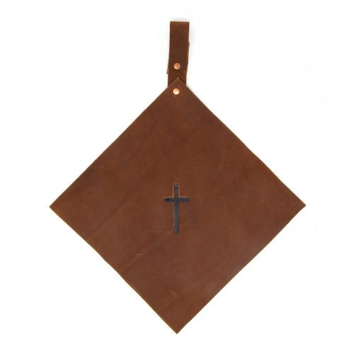 OreMoose || Pot Holder (Amber) - Handmade Leather Pot Holder with Cross Design