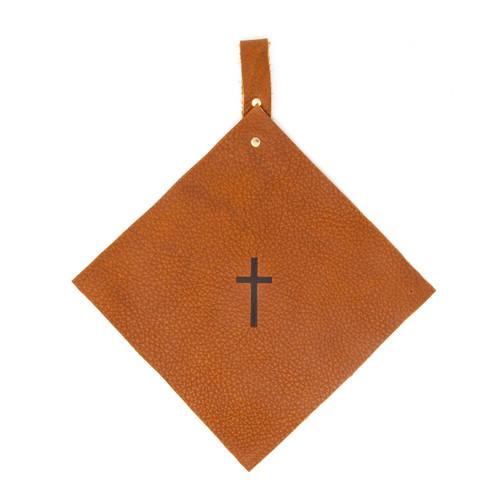 OreMoose || Pot Holder (Tan Casco) - Handmade Leather Pot Holder with Cross Design