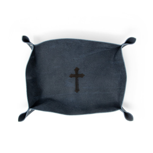 OreMoose || Valet Tray (Denim) - Handmade Leather Catchall Tray with Cross Design