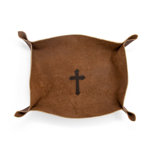 OreMoose || Valet Tray (Amber) - Handmade Leather Catchall Tray with Cross Design