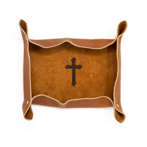 OreMoose || Valet Tray (Tan Casco) - Handmade Leather Catchall Tray with Cross Design
