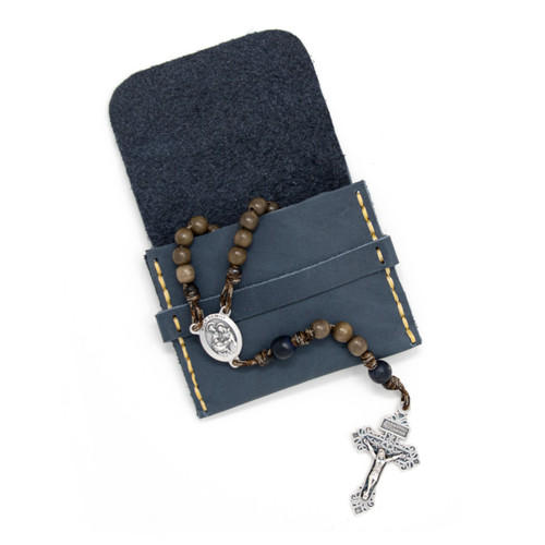 OreMoose || Rosary Pouch (Denim) - Handmade Leather Pouch with Envelope Feature